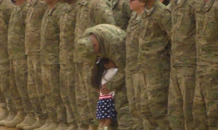 Fort Carson Girl Running to Hug Father